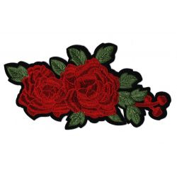 Patch Ecusson Thermocollant Fleurs roses rouges 12 x 23 cm