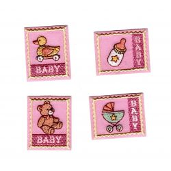 Patch Ecusson Thermocollant 4 x bébé layette fille 3,50 x 4 cm