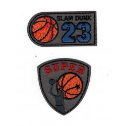Patch Ecusson Thermocollant Basketball Ballon de basket 3 x 6 cm et 4,50 x 5 cm