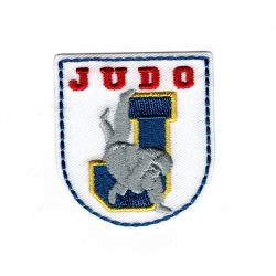Patch Ecusson Thermocollant Blason judo fond blanc 4,50 x 5 cm
