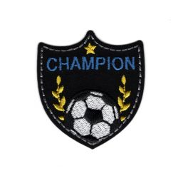 Patch Ecusson Thermocollant Blason Champion de foot 4,50 x 5 cm