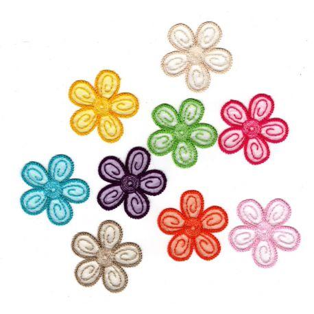 Patch Ecusson Thermocollant Petites fleurs multicolores 4 x 4 cm