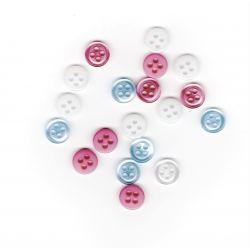 19 petits boutons 9 mm rose bleu blanc layette plastique