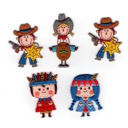 Patch Ecusson Thermocollant western cow boy indien 4 x 5 cm