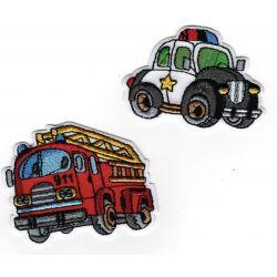 Patch Ecusson Thermocollant Camion de pompier et voiture de police 4 x 5 cm et 3,50 x 5 cm