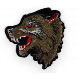 Patch Ecusson Thermocollant Tête de loup relief 8 x 8 cm