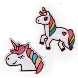 Patch Ecusson Thermocollant Licorne arc en ciel 7 x 7,50 cm et 5 x 7 cm