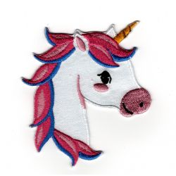 Patch Ecusson Thermocollant Tête de licorne crinière rose 7 x 8 cm