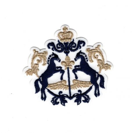 Patch Ecusson Thermocollant Blason royal chevaux couronne 5,50 x 5,50 cm