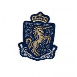 Patch Ecusson Thermocollant Blason royal couronne licorne 4 x 5,50 cm