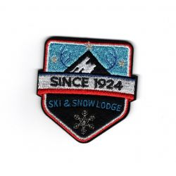 Patch Ecusson Thermocollant Blason Ski and snow lodge montagne 5 x 5 cm