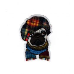 Patch Ecusson Thermocollant Chien carlin bonnet hiver 3,50 x 5 cm