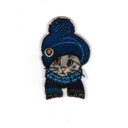 Patch Ecusson Thermocollant Chat chaton bonnet hiver 3 x 5 cm