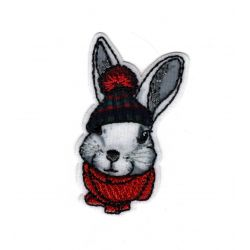 Patch Ecusson Thermocollant Lapin lièvre bonnet hiver 3 x 5 cm