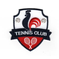 Patch Ecusson Thermocollant Blason coq France Tennis club 6,50 x 6,50 cm