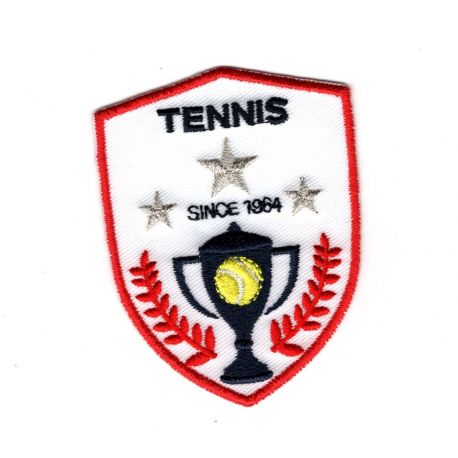 Patch Ecusson Thermocollant Blason trophée tennis 5 x 6,50 cm