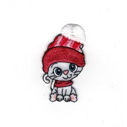 Patch Ecusson Thermocollant Chat chaton bonnet rose pompon 3,50 x 6 cm