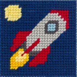 Kit Canevas complet la fusée vers la lune 15 x 15 Enfant gros trous