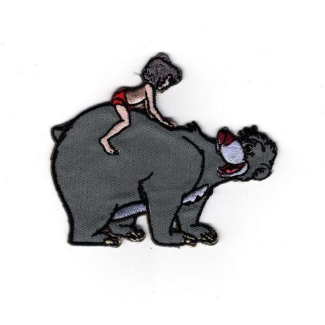 Patch Ecusson Thermocollant Le Livre de la Jungle Mowgli Baloo 6,50 x 8 cm
