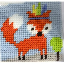 Kit Canevas complet Foxy renard rusé 15 x 15 Enfant gros trous