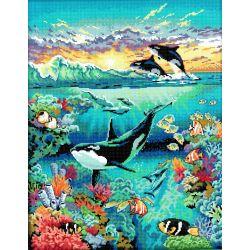 Canevas à broder au point de croix Les orques 32 x 40 cm kit complet