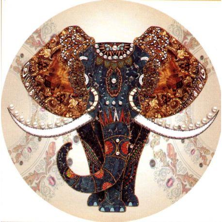 Canevas à broder au point de croix Eléphant 40 x 40 cm kit complet toile imprimée