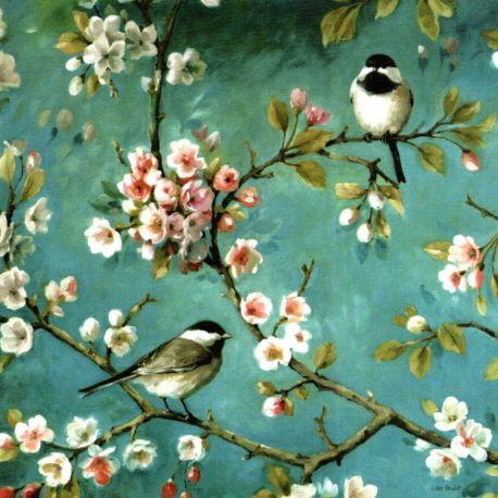 Canevas à broder au point de croix Oiseaux mésanges 34 x 34 cm kit complet toile imprimée