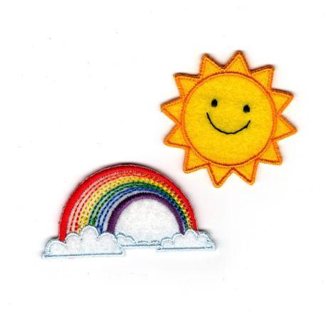 Patch Ecusson Thermocollant Soleil et arc en ciel 4 x 4 cm et 2,50 x 5 cm