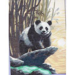 Canevas seul sans les fils et sans les codes couleurs Panda 15 x 20 cm