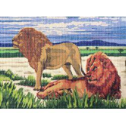 Canevas seul sans les fils et sans les codes couleurs Les lions 15 x 20 cm