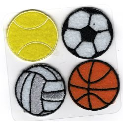 Patch Ecusson Thermocollant 4 balles et ballons foot tennis basket volley 3 x 3 cm