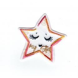 Patch Ecusson Thermocollant Etoile layette rose et jaune my star 4,50 x 4,50 cm