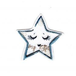 Patch Ecusson Thermocollant Etoile layette gris et bleu my star 4,50 x 4,50 cm