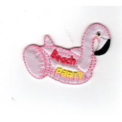 Patch Ecusson Thermocollant Beach party bouée flamant rose 4 x 5 cm
