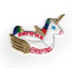 Patch Ecusson Thermocollant Summer party bouée licorne 5 x 5 cm