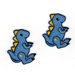 Patch Ecusson Thermocollant 2 x dinosaure bleu 3 x 3,50 cm