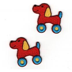 Patch Ecusson Thermocollant 2 x chien à roulettes jouet 3 x 3 cm