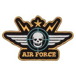 Patch Ecusson Thermocollant Blason tête de mort Air force 5 x 8,50 cm