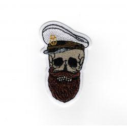 Patch Ecusson Thermocollant Tête de mort Capitaine du bateau 3 x 5 cm