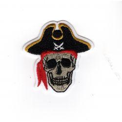 Patch Ecusson Thermocollant Tête de mort pirate 4,50 x 4,50 cm