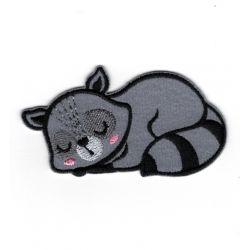 Patch Ecusson Thermocollant Raton laveur endormi 3,50 x 6,50 cm
