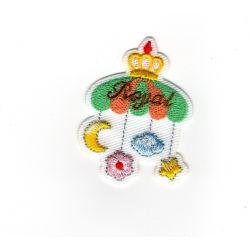 Patch Ecusson Thermocollant Mobile de rêve lune Royal Baby 4 x 5 cm