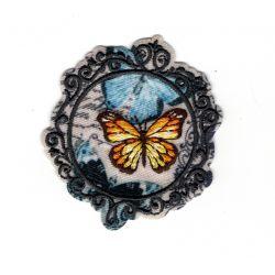 Patch Ecusson Thermocollant Médaillon vintage papillon 5 x 5 cm