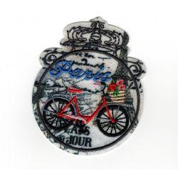 Patch Ecusson Thermocollant Médaillon vintage Paris Tour Eiffel à vélo 5 x 6 cm