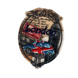 Patch Ecusson Thermocollant Médaillon vintage Mini London Londres 4,50 x 6 cm