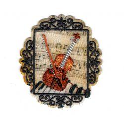 Patch Ecusson Thermocollant Médaillon vintage Musique violon 5,50 x 6 cm
