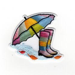 Patch Ecusson Thermocollant Parapluie et bottes de pluie couleurs claires 5 x 5 cm