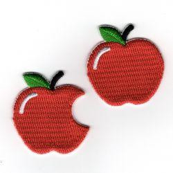 Patch Ecusson Thermocollant Pomme et pomme croquée 3 x 3,20 cm