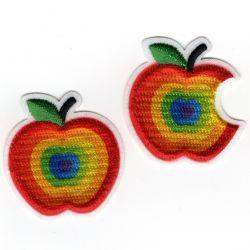 Patch Ecusson Thermocollant Pomme et pomme croquée couleurs vives 3 x 3,20 cm