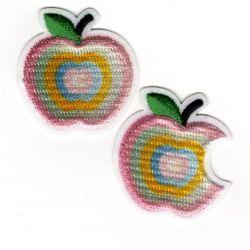 Patch Ecusson Thermocollant Pomme et pomme croquée couleurs claires 3 x 3,20 cm
